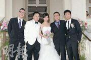 麥兆輝結婚,好兄弟(左起)莊文強、劉偉強、余文樂齊齊到賀。(攝影﹕劉永銳、孫華中)