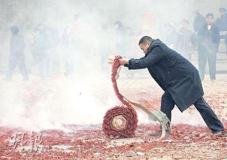 It is still common to let off firecrackers on the mainland in Lunar New Year.