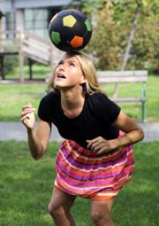 Former Miss Sport Croatia finalist and football coach Tihana Nemcic posed on October 1, 2012 in Zagreb. AFP Photo