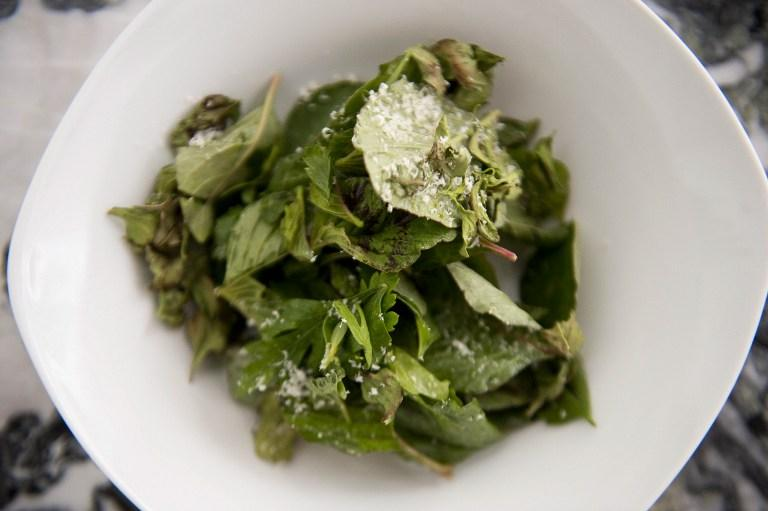 A salad of redroot with branches of coriander, parsley, mint, olive oil and cheese, was served at a restaurant in Mexico City on May 31, 2012. AFP Photo