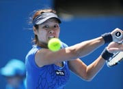 Li Na from China played a backhand return against Christina McHale of the US at the Sydney International tennis event on January 7, 2013. AFP Photo