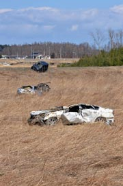 Wrecked vehicles remain in a field of reeds in Namie. AFP Photo