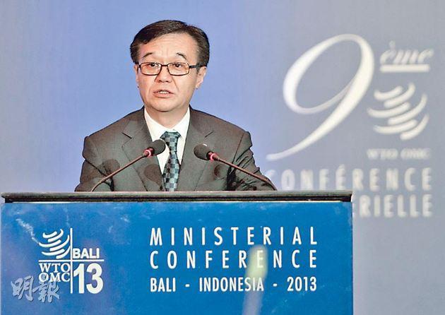 中國過往一直維護世貿的談判框架,但中國商務部長高虎城上周三在峇厘發言時卻表示「對其他多邊談判持開放態度」,令外界質疑中國轉變立場。(新華社)