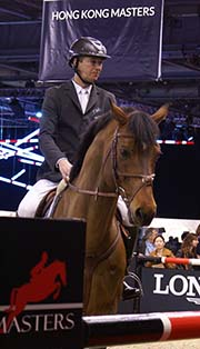 Patrice Delaveau and his horse Carinjo 9 HDC was at AsiaWorld-Expo in Hong Kong on Feb 2014. (Photo taken by Chong Chiu Ching)