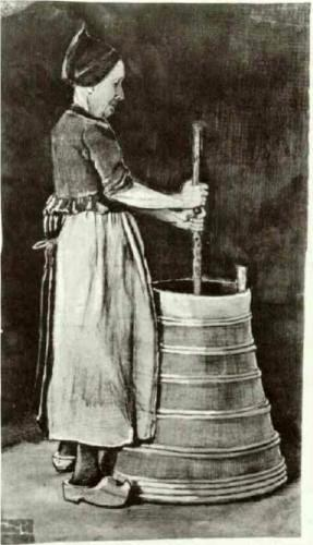 This painting shows how a woman churned butter in the old days. The painting <i>Woman Churning Butter</i> was created by Vincent van Gogh in 1881.
