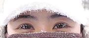 Tiny icicles on eyelashes (Mingpao Photo)