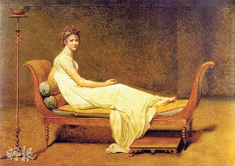 原作——十九世紀新古典主義大師大衛的畫作《雷卡米埃夫人》。(網上圖片)