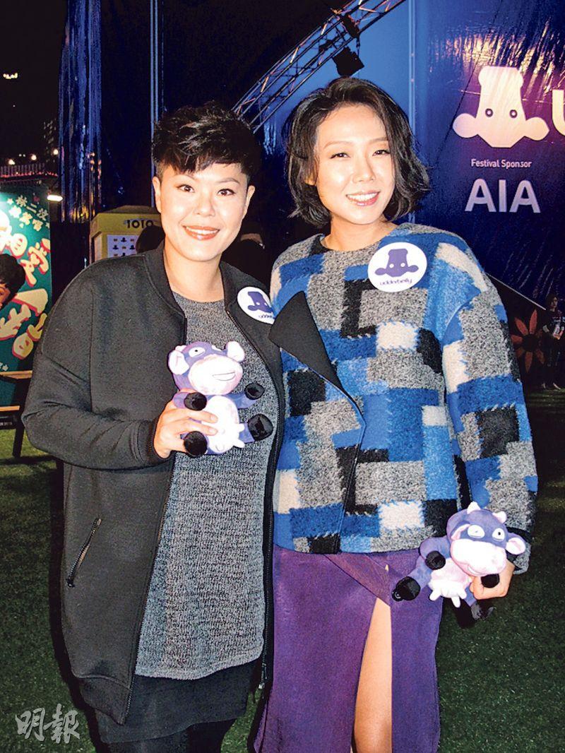 林二汶(左)與卓韻芝(右)質疑軒仔被退出《我是歌手4》是否屬實。(攝影﹕鍾一虹)