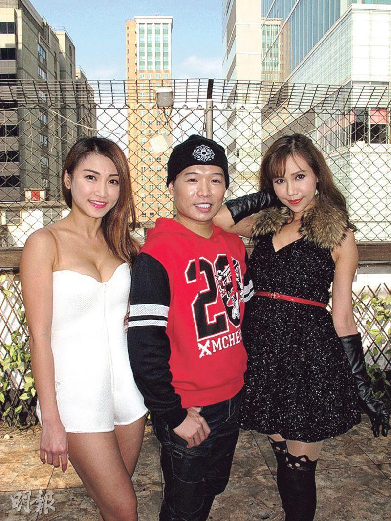黃榕(左)與仙樂都(右)以黑白配打扮現身「男神BB」(中)的MV發布會。(攝影/記者:鍾一虹)