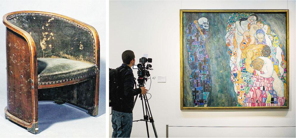 利奧波德博物館「隱沒的寶藏」展出的扶手椅(左圖)是奧地利著名消費品設計大師霍夫曼(Josef Hoffmann)1901年作品,可是保養欠佳致發霉兼脫色。右圖為20世紀初知名象徵主義畫家克利姆特(Gustav Klimt)的《死與生》(Death and Life)。(網上圖片、法新社)