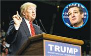 特朗普指控在艾奧瓦州勝出共和黨初選的克魯茲(圓圖)「出術」。圖為特朗普周三到阿肯色州小石城出席競選集會。(路透社)