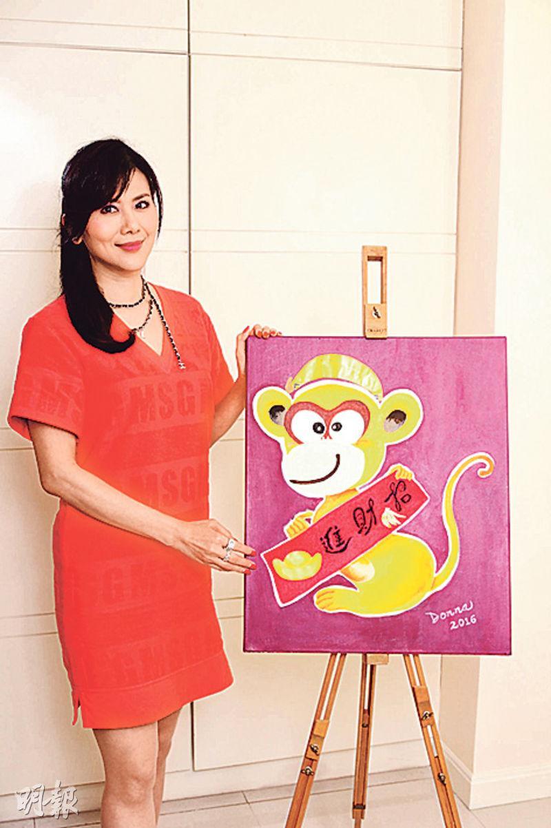 朱潔儀完成《招財金猴》後,歷時12年的生肖油畫系列大功告成。