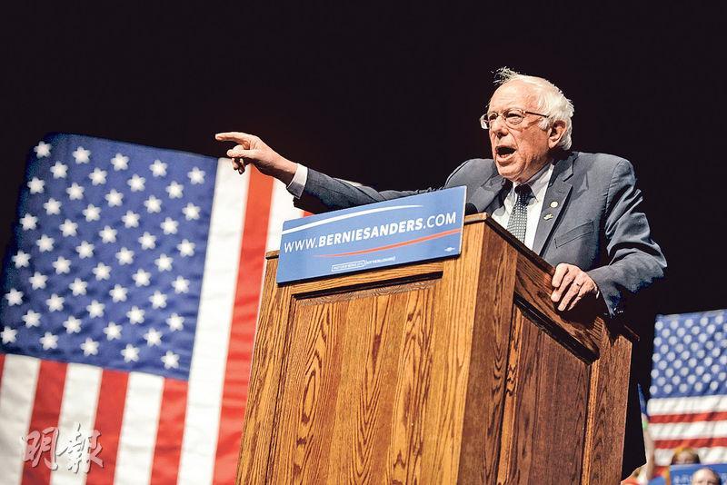 民主黨總統參選人桑德斯(圖)周二在威斯康星州出席競選活動。他稱,一早預言「巴拿馬自由貿易協議」將引發逃稅問題。(路透社)