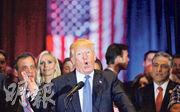 特朗普周二在紐約曼哈頓出席競選活動,發言時表情十足。(路透社)