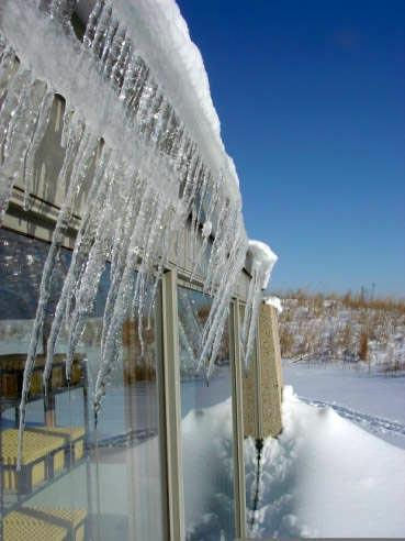 Icicles hanging from a roof (U.S. Fish and Wildlife Service photo)
