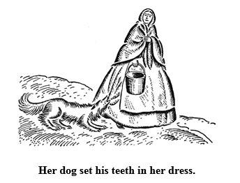The dog Prince set his teeth in Aunt Eliza's dress.
