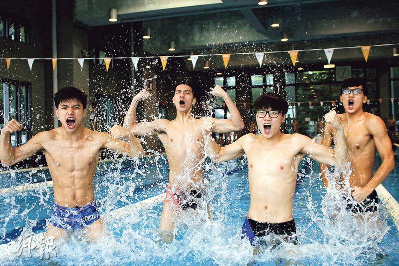 拔萃男書院游泳隊在4名隊長劉溢豐(左起)、鄔梓熹、鍾卓熹和容卓朗帶領下,全力衝擊24連霸。(黃頴恩攝)