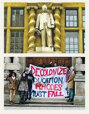 牛津大學學生去年舉橫額示威,要求剷走大樓外牆上的「殖民主義象徵」羅德像。(資料圖片)