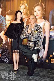 首次做女一的林夏薇與剃了頭的陳展鵬為賀歲劇《乘勝狙擊》谷宣傳。(攝影/記者:陳釗)