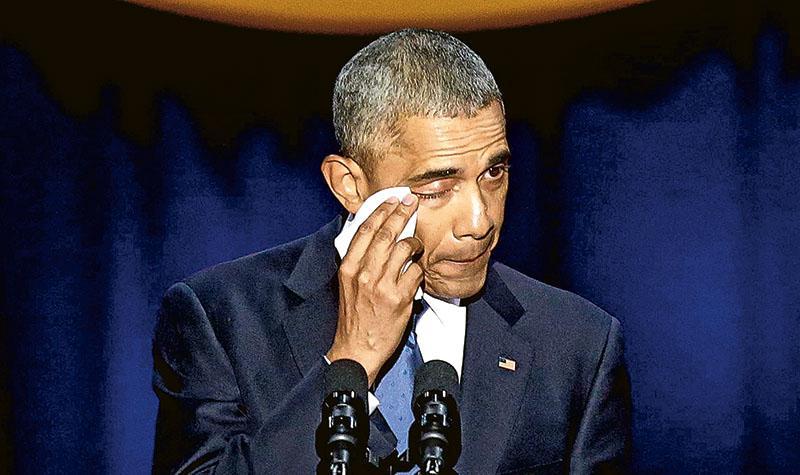 美國總統奧巴馬周二在芝加哥發表告別演說,感觸落淚。(法新社)