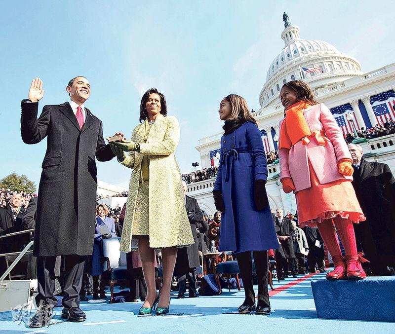 奧巴馬(左一)在2009年1月20日宣誓就任美國總統,任內初期提出不少重大外交政策改變,可是8年過後,大多是雷聲大雨點小。(法新社)