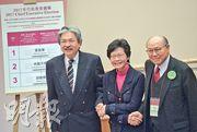 曾俊華(左起)、林鄭月娥和胡國興3名特首候選人早前出席選舉簡介會,抽籤下順序獲配1號、2號及3號候選人編號。