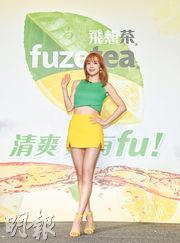 Hani出席台灣宣傳活動,毫不吝嗇展示美好身材。(自由時報)