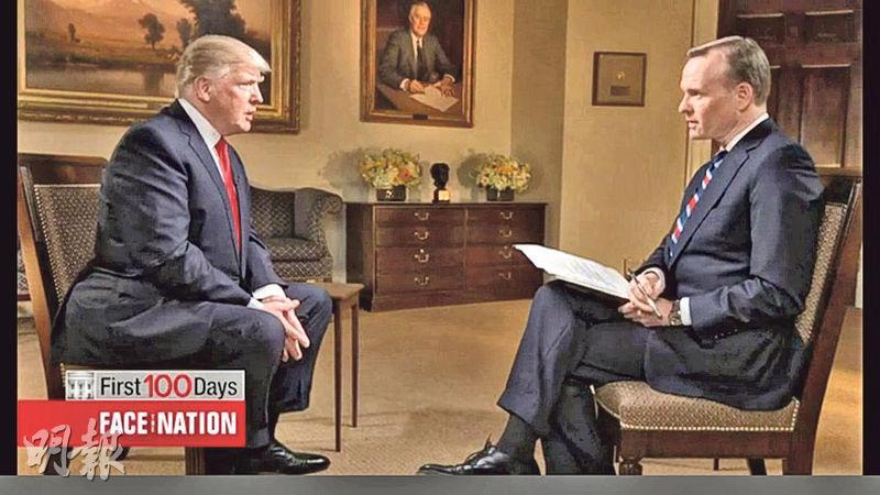 美國總統特朗普(左)前日接受CBS節目訪問,稱朝鮮領導人金正恩是「聰明人」。(網上圖片)