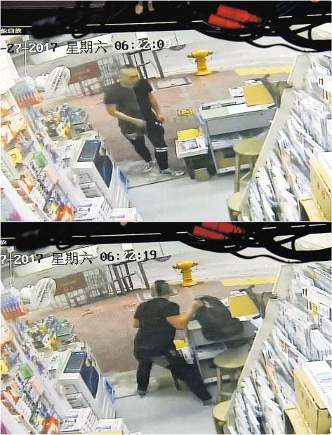 報檔閉路電視拍攝到一名束「雞冠頭」髮型及穿黑色衫褲男子,趁負責人離開即跑入報檔搜掠,其間隨手取去背囊逃去,整個過程約10秒完成。(閉路電視截圖)