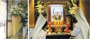 「雪糕伯伯」黃廣昨日設靈,瑪利諾神父教會學校校友送上「雪糕筒」花牌(左圖)親友及街坊都有到場作道別,伴黃伯走最後一程。(李紹昌攝)