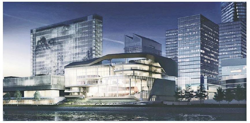 演藝綜合劇場位於M+(左面的建築物)旁邊,可以由鄰近的港鐵九龍站、圓方購物中心及藝術廣場下的地下行車路前往。(西九管理局電腦模擬圖)