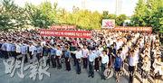 6月25日是韓戰爆發紀念日,朝鮮定為「抗擊美帝國主義紀念日」,圖為6月21日朝鮮街頭的反美集會。(韓聯社)