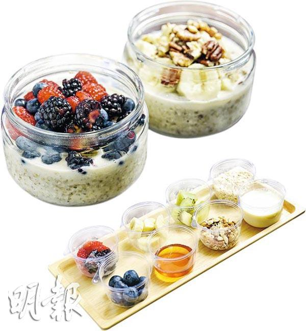 Instant oatmeal - one needs to pour hot water or milk or soy milk over instant oatmeal. Fresh fruit can be added later. (Mingpao Photo)