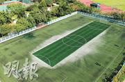 近日剛完成重鋪新草工程的馬鞍山遊樂場人造草足球場,因只有中央位置鋪上新草皮,其餘沿用舊草皮,從高空俯瞰可見球場新舊草地共存下顏色深淺不一。(林智傑攝)