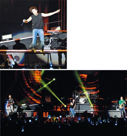 CNBlue在港舉行一連兩場演唱會,成員鄭容和整晚滿場飛,又講稿笑廣東話。(攝影:鍾偉茵)