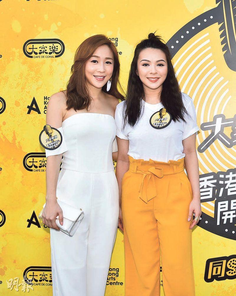 JW(右)跟舊愛Mark的妹妹魏韵芝(左)碰面沒尷尬。(攝影/記者:林祖傑)