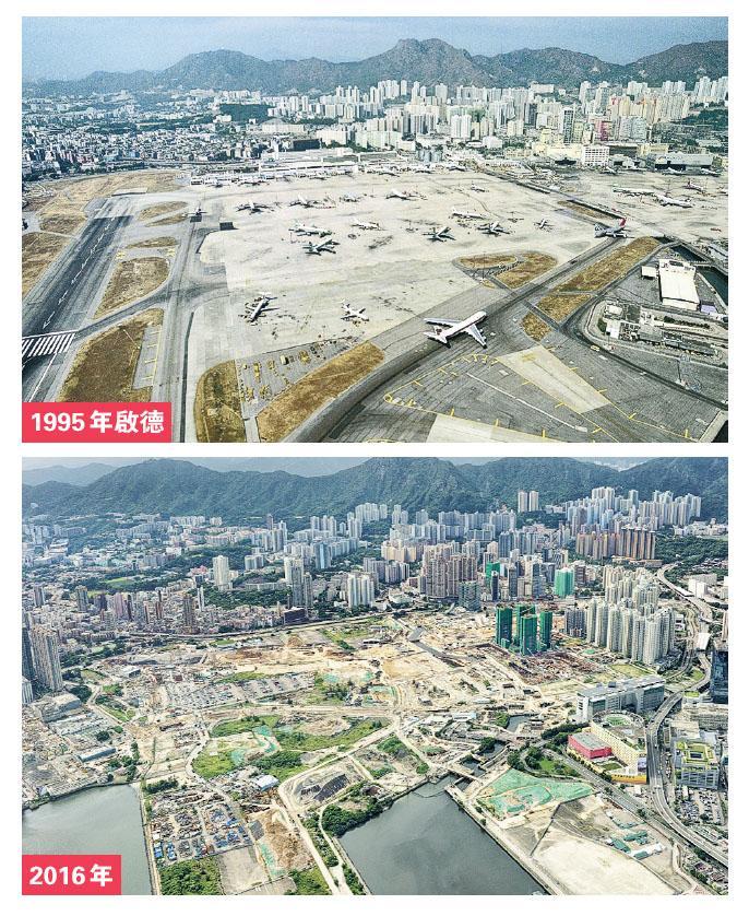 回歸前香港機場啟德喺九龍城,呢張喺1995年影嘅相可見(上圖),啟德只有一條跑道,而且好近民居。隨住機場搬去赤鱲角,啟德亦有大規模發展,如起樓及郵輪碼頭等,另一張2016年喺相若角度拍攝嘅啟德(下圖),就同21年前有好大分別,但舊機場地皮仲有大量地方未有發展。(發展局長網誌圖片)