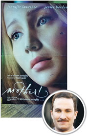 珍妮花羅倫斯因競賽片《媽媽!》而與導演戴倫阿羅諾夫斯基(圓圖)擦出愛火,兩人日前抵達威尼斯影展。(網上圖片)