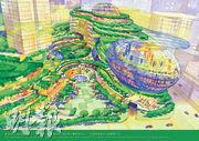 在原本的構想圖中,鄰近觀塘康寧道的政府辦公室及零售建築設計為「鵝蛋」形,並由一個彎曲的梯形平台連接至圖中較遠的地標式商業大樓,但最新設計因應第4、5區分開發展而大幅修訂。(資料圖片)