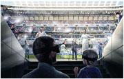 「互動足球體驗中心」將以虛擬實境技術,帶領參加者展開西班牙班拿貝球場之旅,模擬穿梭球員更衣室及隧道,與巴利(白衫前左)及C朗(白衫前右)等球星一同「迎接」球賽,體驗在皇馬主場作戰滋味。(模擬圖片)