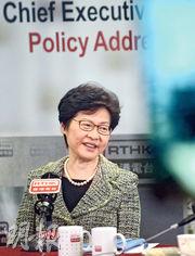 林鄭月娥(圖)昨出席港台訪問時說,入境政策屬香港高度自治範圍,但若入境情况被視為外交事務,就會由中央負責。(蘇智鑫攝)