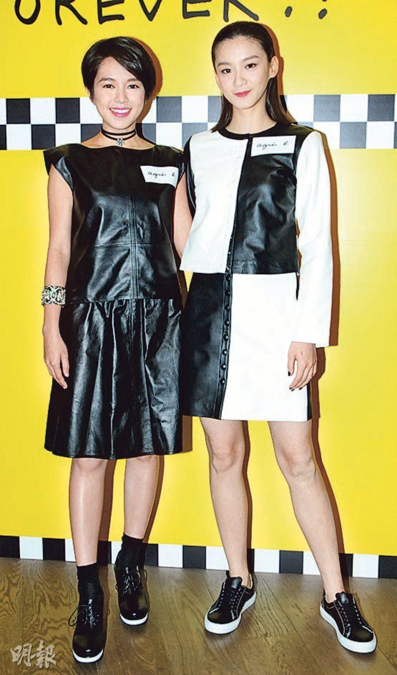 有愛情滋潤的蘇麗珊(左)與「文青女神」袁澧林(右)昨日出席時裝品牌活動。(攝影/記者:林祖傑)