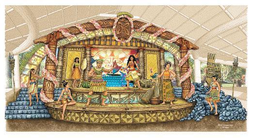 香港迪士尼擴建明年5月將有新設施建成,到時會新加「魔海奇緣凱旋慶典」表演節目,表演設喺迪士尼探險世界內,由電影《魔海奇緣》慕安娜擔任主角,舞台設計充滿夏日氣息(圖)。(迪士尼提供)