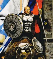 莫斯科一間博物館最近舉行「超級普京」的展覽,有參觀者拍攝一件普京身穿中世紀盔甲騎馬的雕像。(法新社)