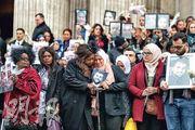 昨日出席悼念儀式的穆斯林婦女神情哀傷。(法新社)