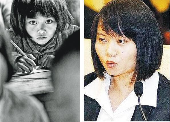 1991年,8歲的蘇明娟(左圖)被選中為希望工程代言人,現年34歲的她前日當選共青團安徽省兼職副書記(右圖)。(網上圖片)