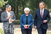 美國聯儲局、歐洲央行、英倫銀行和日本央行淨流入債市的資金,將在2018年底前由正轉負。左起為日本央行行長黑田東彥、聯儲局主席耶倫與歐洲央行行長德拉吉。