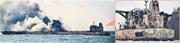在東海意外撞船起火的巴拿馬籍油輪「桑吉」號燃燒4天,交通部昨稱未發生大面積溢油。左圖為前日事發現場依然濃煙滾滾,右圖是昨日由較近處拍攝到的「桑吉」號外觀。(法新社/網上圖片)