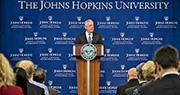 美國國防部長馬蒂斯在約翰霍普金斯大學高級國際研究學院演說,闡述報告觀點。(網上圖片)