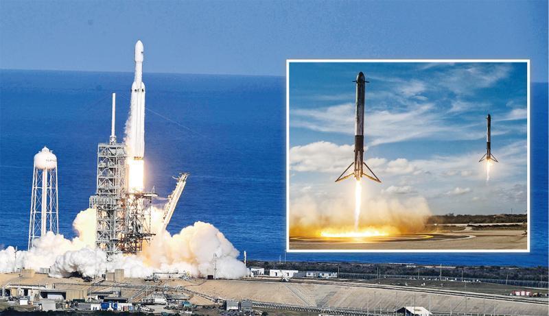 「獵鷹重型」火箭周二在美國佛羅里達州甘迺迪太空中心升空(左圖)。兩支輔助火箭同時降落在發射場附近的着陸點,成功被回收(小圖)。(法新社、路透社)